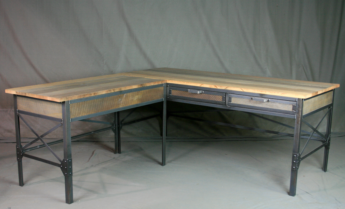 Industrial L Shaped Desk With Drawers Combine 9 Industrial Furniture