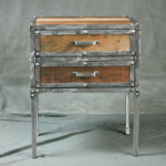 Vintage Industrial Nightstand with Drawers