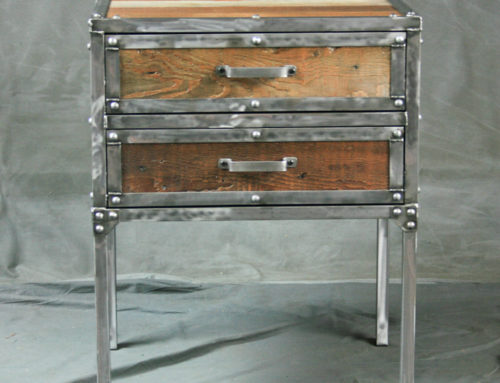 Industrial Modern End Table with Drawers