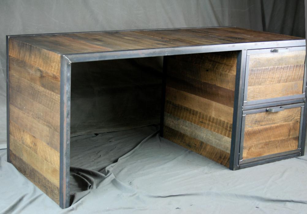Reclaimed Wood Desk K Mid Century Modern Plenty Of Legroom