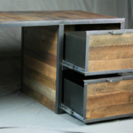 Reclaimed wood drawers on desk
