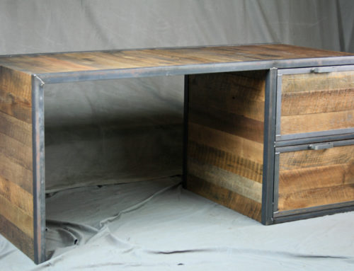 Reclaimed Wood Desk with File Drawers