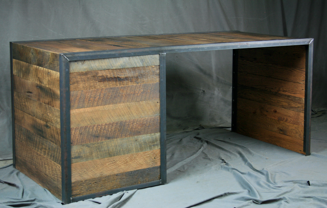 Reclaimed Wood Desk With File Drawers Combine 9