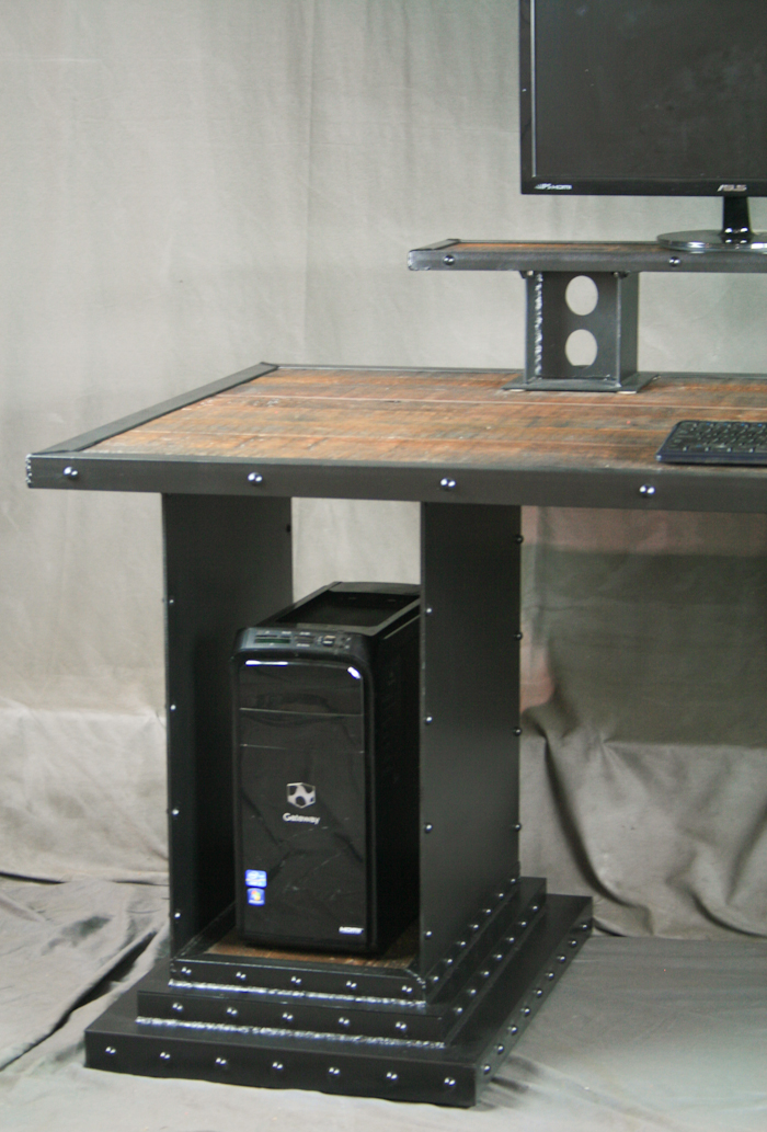 combine 9 industrial furniture reclaimed wood desk with monitor stand and computer storage. Black Bedroom Furniture Sets. Home Design Ideas