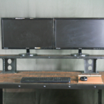 Vintage Industrial Desk with Monitor Riser