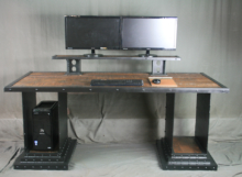 Reclaimed Wood Desk with Risers