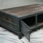 Rustic Coffee Table with Cabinet Storage