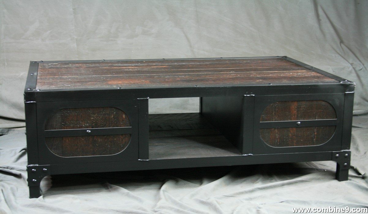 Combine 9 Industrial Furniture Reclaimed Wood Coffee Table With Cabinet Storage