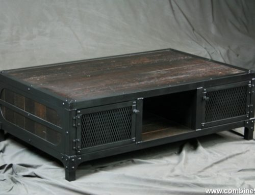 Reclaimed Wood Coffee Table with Cabinet Storage