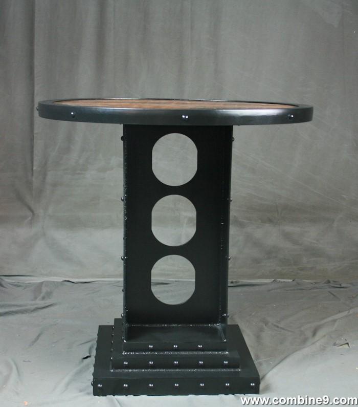 Bithlo Reclaimed Wood Top Round Industrial Coffee Table: Industrial Furniture – Industrial Style Round