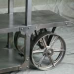 steel shelf with wheels - metal furniture - vintage industrial