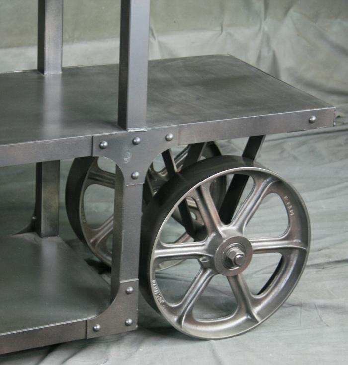 Steel Shelf With Wheels   Metal Furniture   Vintage Industrial