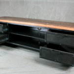 steel media console with drawers