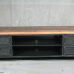 vintage industrial media console
