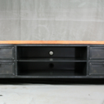 vintage industrial media storage console