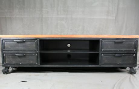 vintage industrial media storage console