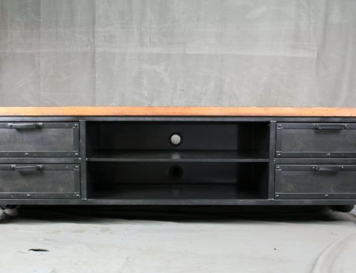 Industrial Media Console with Drawers