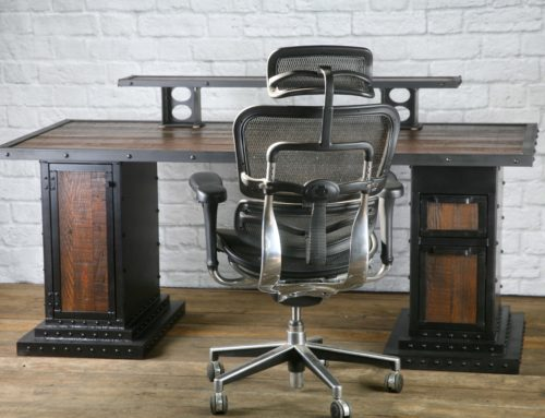 Modern Industrial Computer Desk, Reclaimed Wood Desk