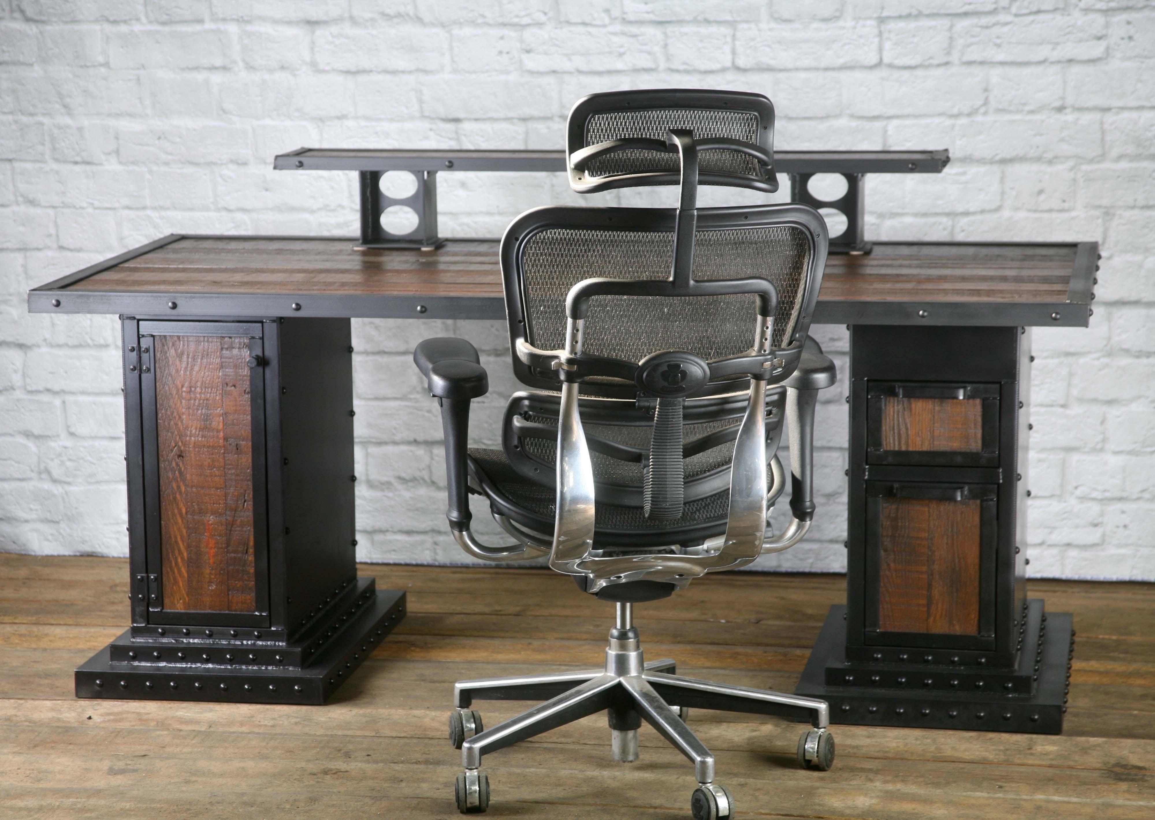 Modern Industrial Computer Desk Reclaimed Wood Desk Combine 9