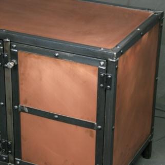 copper media console vintage industrial living room furniture