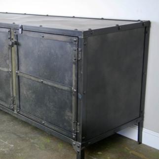 steel industrial media console credenza entertainment center