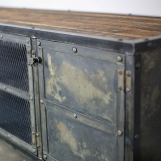reclaimed wood and steel media console