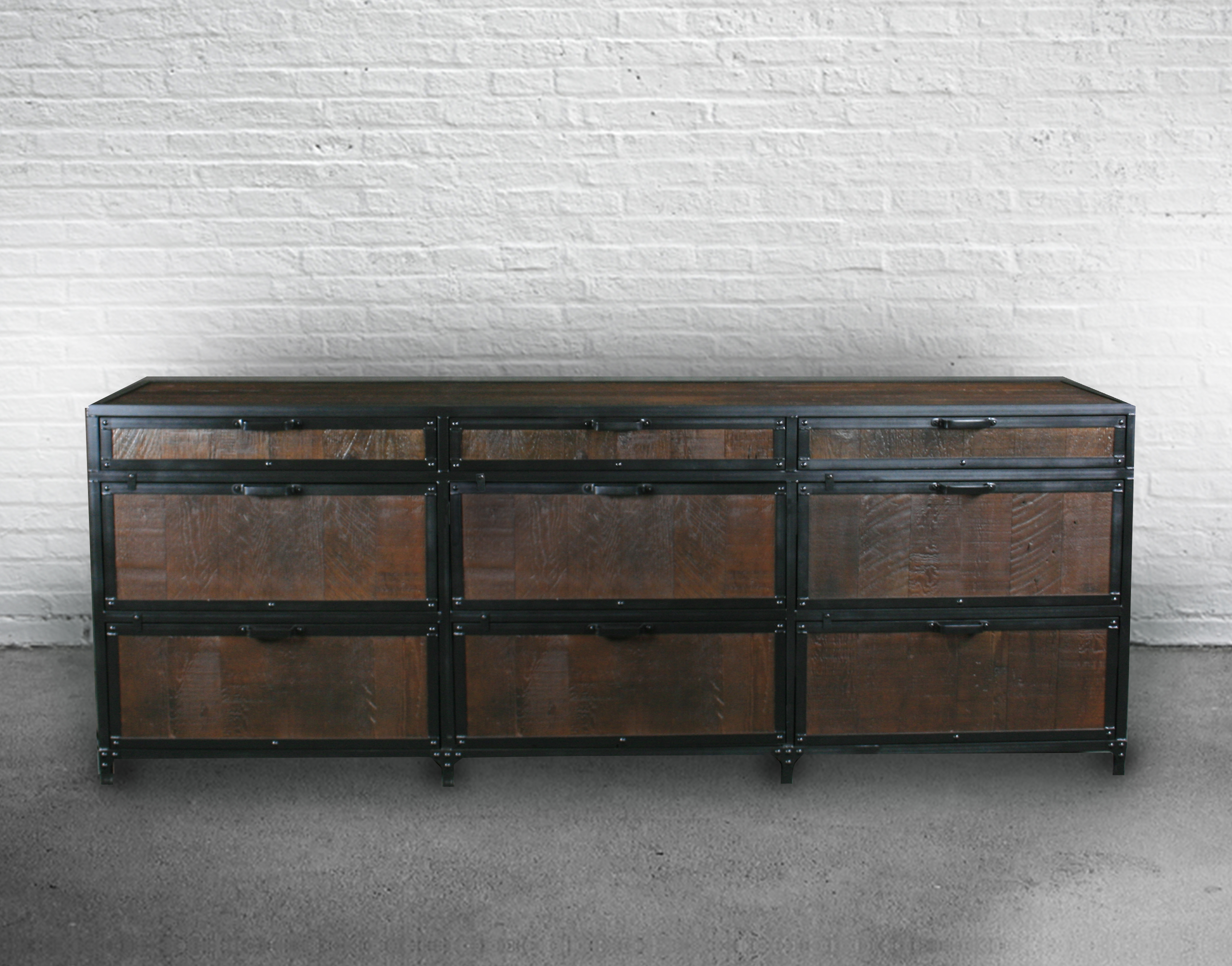 Vintage industrial dresser made from reclaimed wood.
