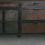 Reclaimed wood and steel file cabinet