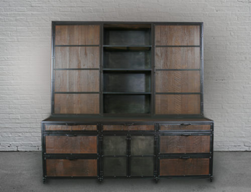 Vintage Industrial Wood File Cabinet with Hutch