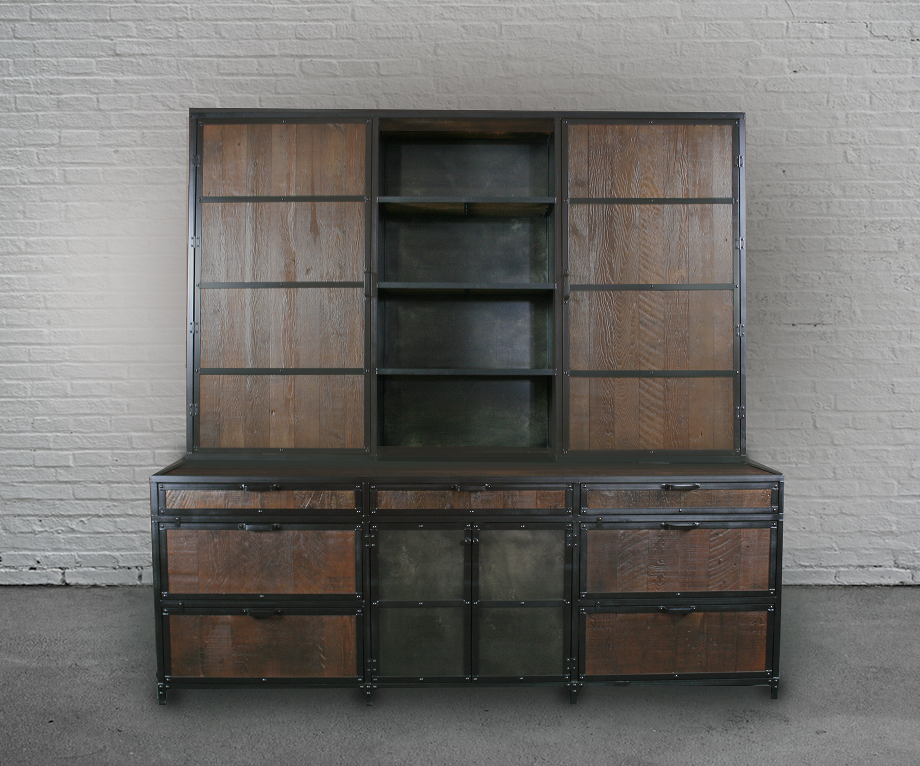 vintage style reclaimed wood file cabinet with hutch shelving for additional storage.