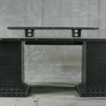 industrial desk with steel bases