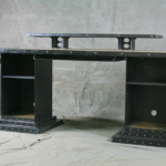 industrial desk with storage cabinets