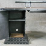 Reclaimed wood and steel Desk with storage bases