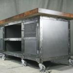 Industrial solid wood kitchen island