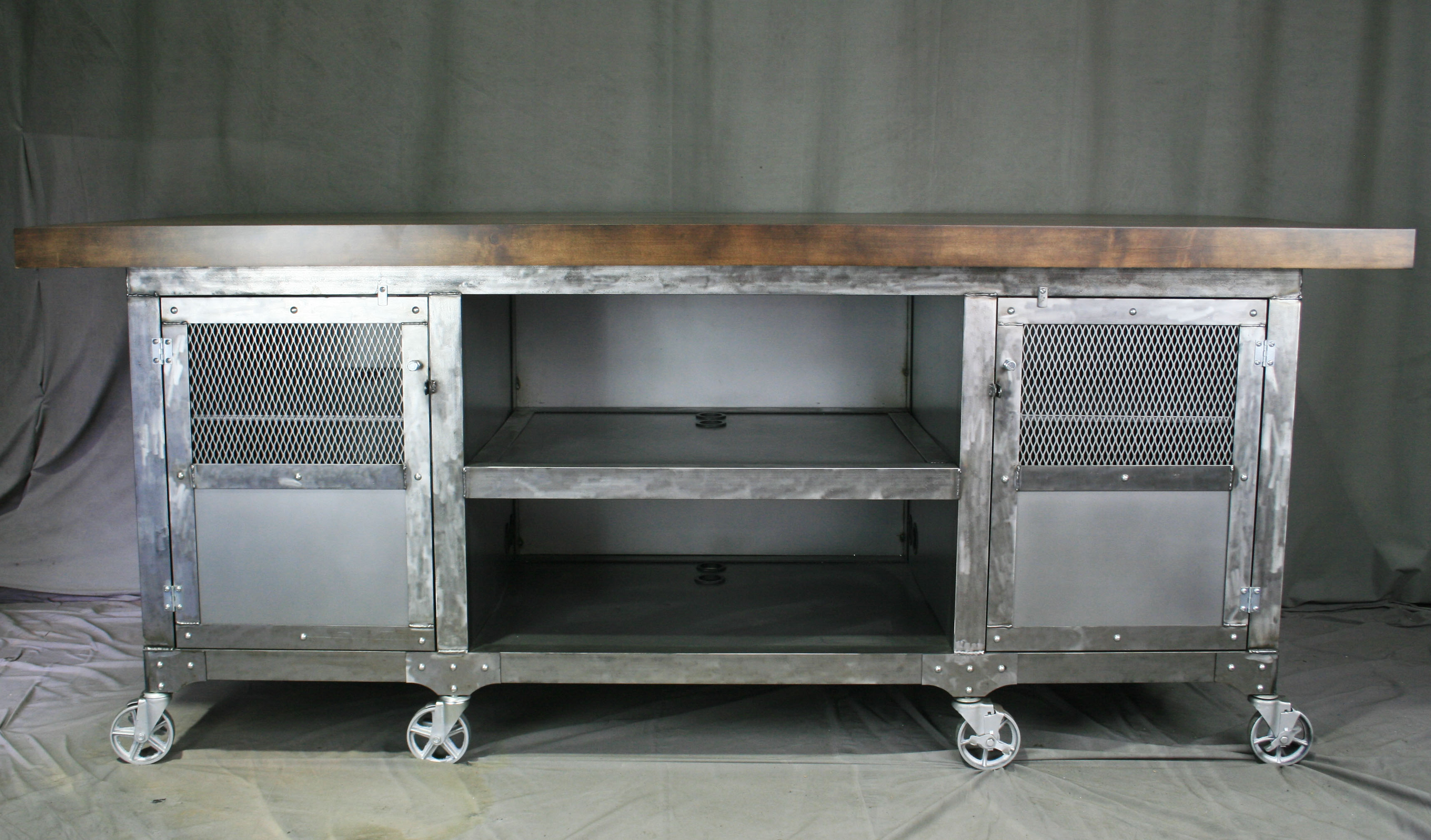 Industrial steel kitchen island