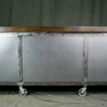Industrial kitchen island with polished finish