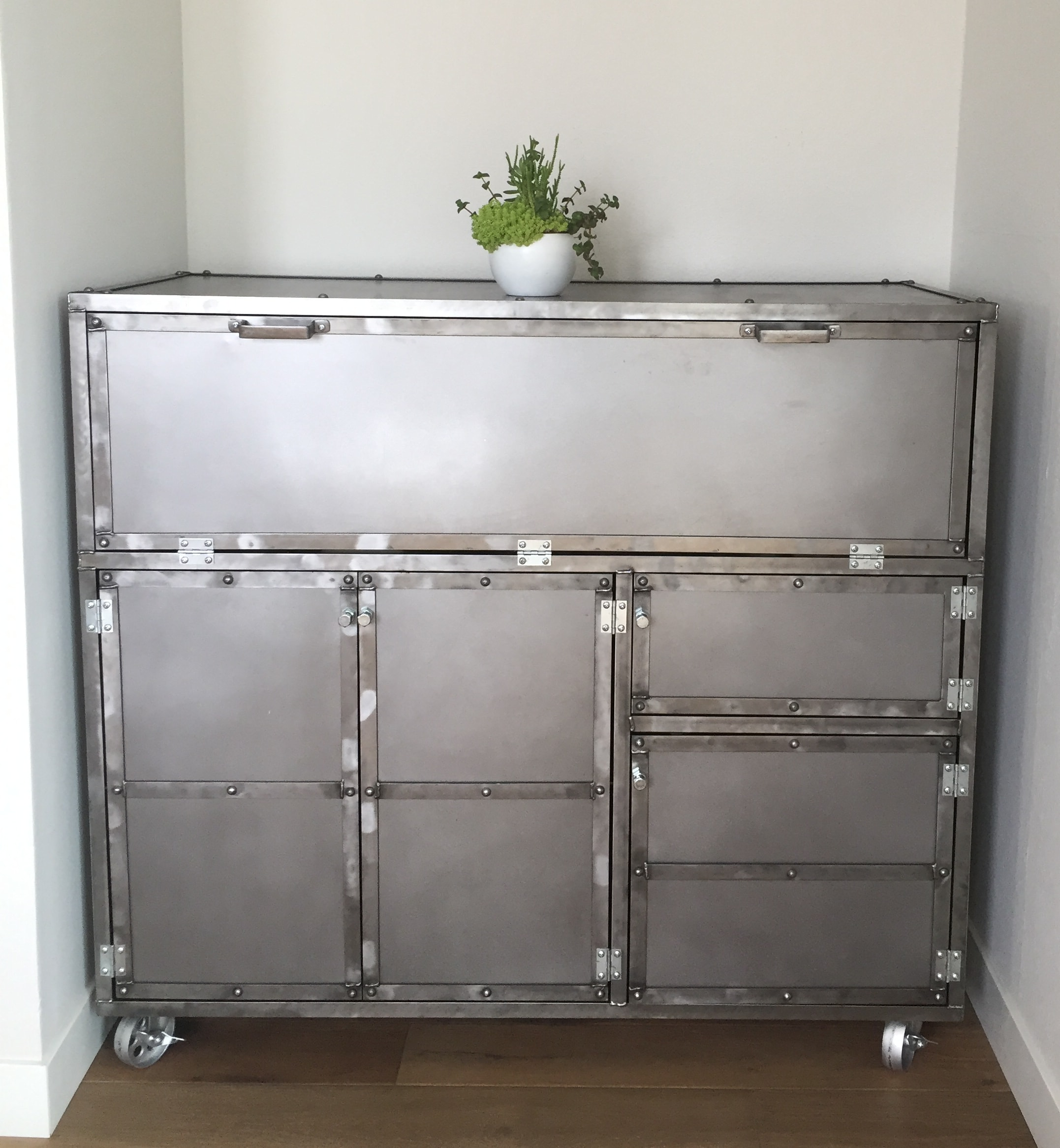 All Steel Modern Pantry or Bar Cart