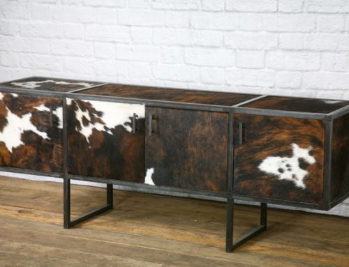 Leather Media Console, Rustic Side Board, Cowhide Credenza, Rawhide Buffet
