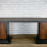 Reclaimed wood desk with decorative wooden back