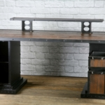 Reclaimed wood desk with monitor riser