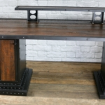 Reclaimed wood desk and monitor riser
