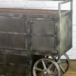Bar trolley with reclaimed wood