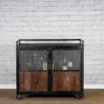 bar card with reclaimed wood and wire mesh doors
