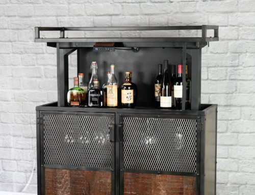 Industrial Pop-Up Bar Cart, Modern Lift-Top Bar