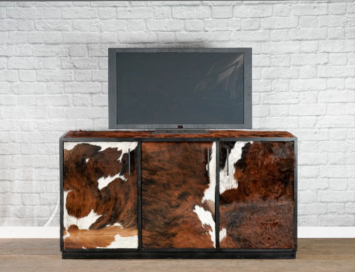 Cowhide Media Console, Leather Sideboard, Rustic Credenza