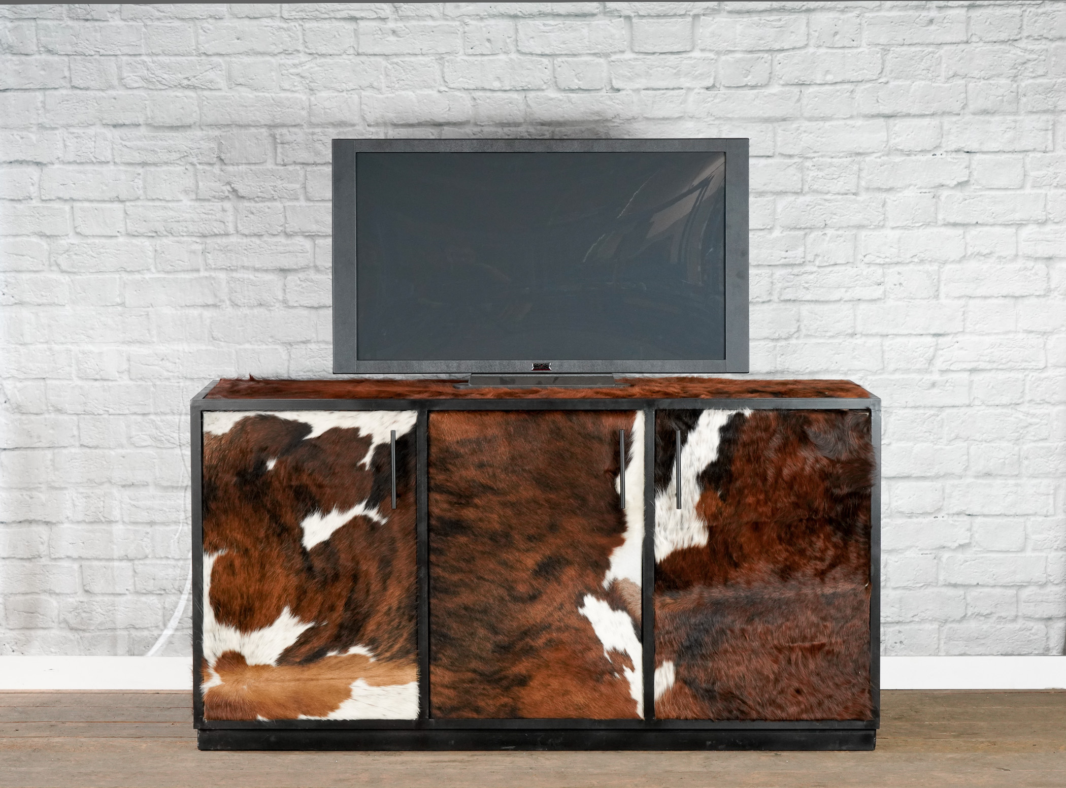 Cowhide media console