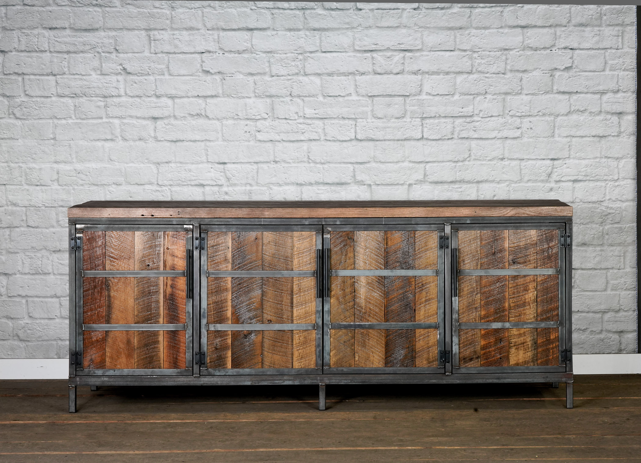 rustic industrial media console