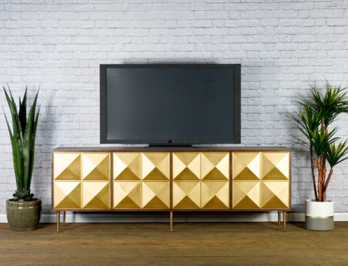 Modern Credenza, Mid Century Modern TV Stand, Walnut Modern Buffet, Gold Sideboard, Hollywood Regency. Hollywood Glam. Customizable